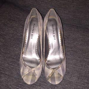 Madden Girl grey pinstripe heels